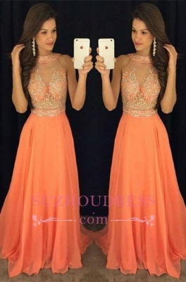 Sleeveless Chiffon A-line Beads Evening Dresses Sweep Train Gorgeous Prom Dress GA076 BA5346_3