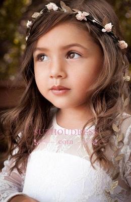 Lace Modern Bow Flower Length Girls Pageant Dress Long Sleeve Flower Girl Dress_5