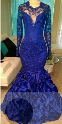 Gorgeous  Royal Blue Long Sleeve Lace Prom Dress Ruffles Mermaid Open Back Evening Gown_1