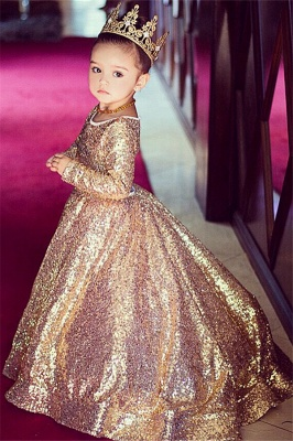 Long Sleeve Champagne Gold Sequins Flower Girls Dresses  Lovely Girls Pageant Dress
