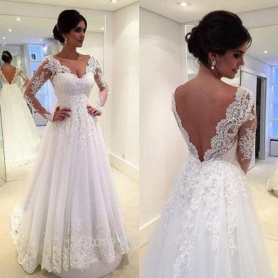 A-Line Elegant White Long Sleeve Bridal Gown Open Back Lace Plus Size Wedding Dress_2