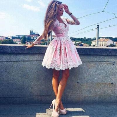 Deep V-Neck Long Sleeves  Hoco Dresses Pink Short Lace Homecoming Dresses_3