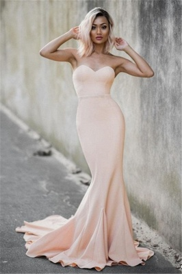 Pale Pink Sweetheart Mermiad Evening Dresses Strapless   Prom Dress CE0035_4