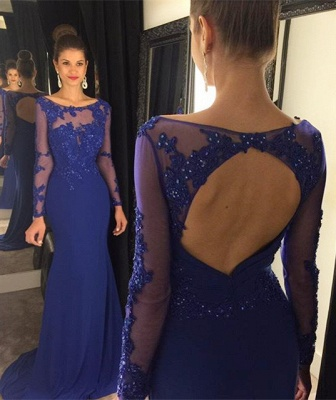 Sexy Mermaid Beading Royal Blue Evening Dress Long Sleeve Open Back Party Dresses GA009_1
