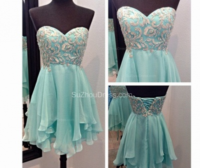 Sweetheart Mini A-Line Homecoming Dresses  Appliques Beadings Lace-Up Cocktail Dresses_2