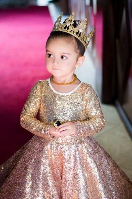 Long Sleeve Champagne Gold Sequins Flower Girls Dresses  Lovely Girls Pageant Dress_3