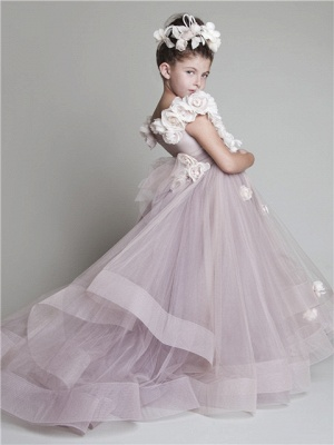 Sweep Train Flower Girl Dresses  Flowers Tiered Draped Lovely Ball Gown Organza Pink Pageant Dress_2
