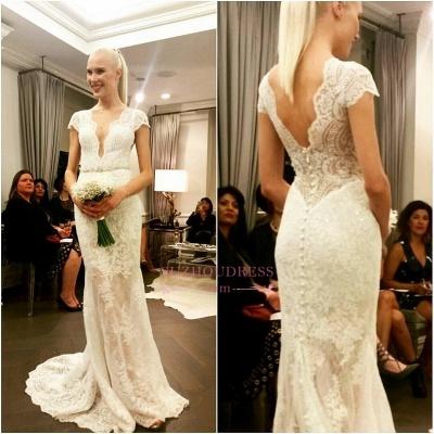 Designer Floor Length Glamorous Lace Bridal Dresses  Button Cap Sleeve Wedding Dress_1