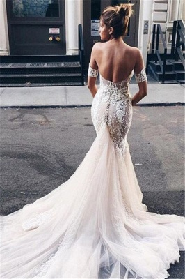 Sexy Strapless Mermaid Bride Dress  Open Back Sweetheart Wedding Dress with Long Tulle Train_1