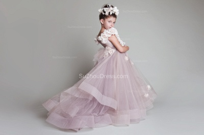 Sweep Train Flower Girl Dresses  Flowers Tiered Draped Lovely Ball Gown Organza Pink Pageant Dress_1
