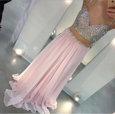 Summer Long Two Piece Prom Dresses Sweetheart Sequins Plus Size Formal Party Dresses BMT016_2