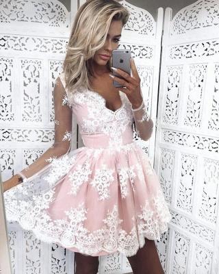Deep V-Neck Long Sleeves  Hoco Dresses Pink Short Lace Homecoming Dresses_1