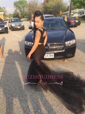 Sleeveless Black  Sexy Mermaid Two-Pieces High-Neck Prom Dress_3