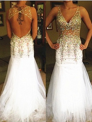 Sexy Mermaid Backless  Evening Dress with Crystals Deep V-neck Prom Dress_1