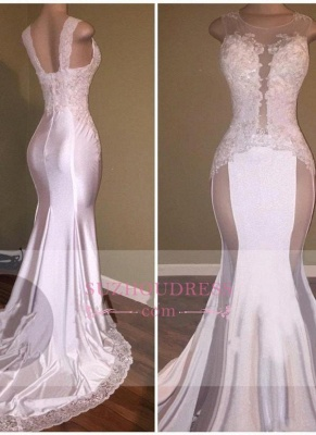 Sexy Mermaid Appliques Sheer Evening Gown  White Beading Lace Glossy Prom Dresses_2