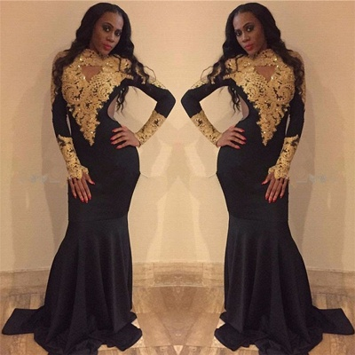 Gold Lace Prom Dresses  | Sexy Long Sleeve Black Evening Gown FB0265_3
