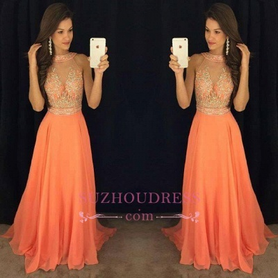 Sleeveless Chiffon A-line Beads Evening Dresses Sweep Train Gorgeous Prom Dress GA076 BA5346_1