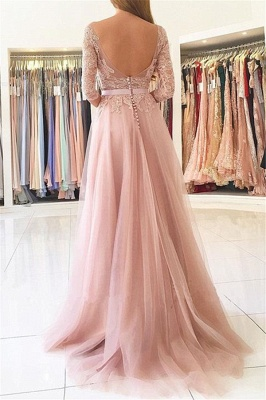 Half Sleeves Lace Appliques Pink Evening Dresses Front Split Tulle Prom Dress  BA7488_3