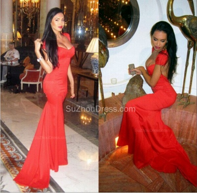 Red  Prom Dresses Straps Cap Sleeve Mermaid Chiffon Sweep Train Sexy Evening Gowns BA5265_2