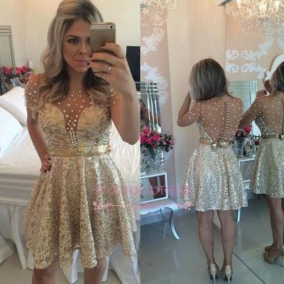 Beadings A-line Short Gold Lace Short Sleeves  Homecoming Dress BA9856_1