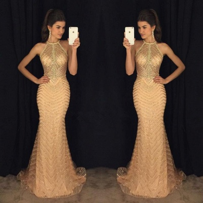 Halter Champagne Gold Sexy Prom Dresses  Sleeveless Mermaid Illusion Long Evening Gown BA8844_3