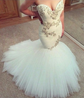 Sexy White Sweetheart Tulle Long Wedding Dress New Arrival Mermaid Custom Made Bridal Gowns_1