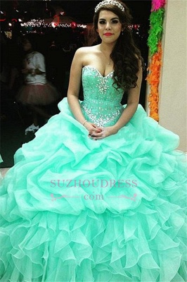Elegant Sweetheart Lace-Up Ruffles Sweet 16 Dresses Crystal Ball Gown Quinceanera Dress_2