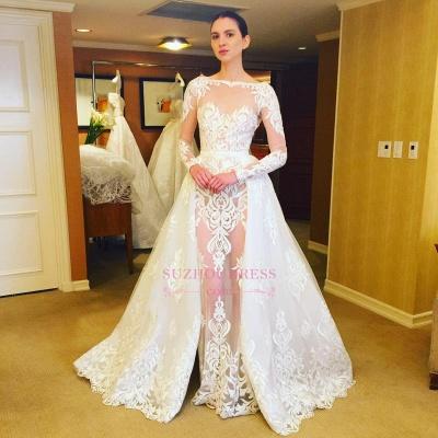 Ruffles Long Sleeves Stunning Lace Bridal Gowns  Sheer Wedding Dress_1