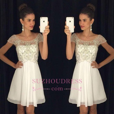Chiffon Short A-Line Crystal Cap Sleeves Scoop  Homecoming Dress_1