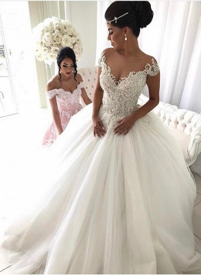 Beads Lace Royal Wedding Dresses  | Princess Ball Gown Sheer Tulle Sexy Bridal Gowns_1