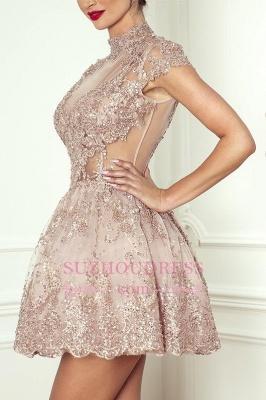 Lace High-Neck Pink Short Long-Sleeve Elegant Homecoming Dresses BA7055_5