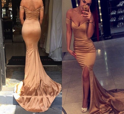 Gorgeous Mermaid Off Shoulder Evening Dress Sexy Zipper Party Dress with Slit_1