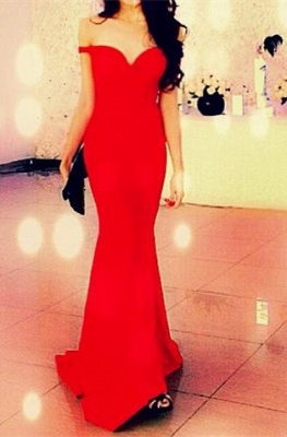 Red Off Shoulder Mermaid Long Evening Dress New Arrival  Sweep Train Prom Gown BA3726_1
