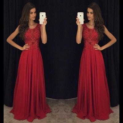 Sleeveless Chiffon Ruby Prom Dresses Beading Sequins Long Evening Dress_3