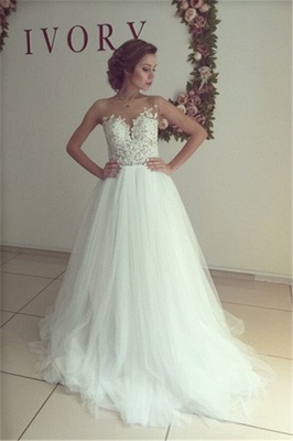 Sleeveless Lace Applique  A-Line Bridal Gowns Button Tulle Long Wedding Dress_6
