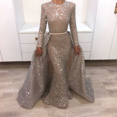 Shining Sequins Prom Dresses Long Evening Gowns with Belt_2
