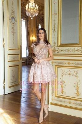 Lace High-Neck Pink Short Long-Sleeve Elegant Homecoming Dresses BA7055_1