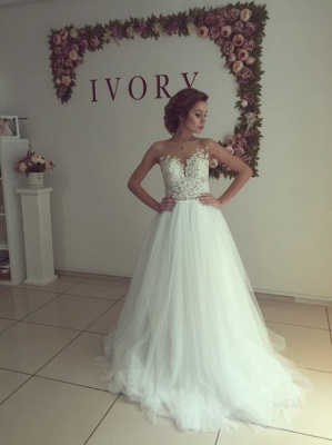 Sleeveless Lace Applique  A-Line Bridal Gowns Button Tulle Long Wedding Dress_1