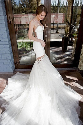 Sexy Backless Mermaid Wedding Dresses | Spaghetti Straps Appliques Bridal Gowns_1
