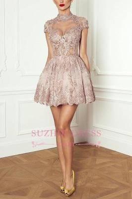 Lace High-Neck Pink Short Long-Sleeve Elegant Homecoming Dresses BA7055_6
