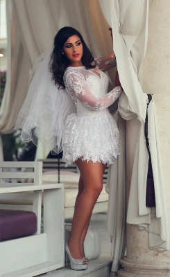 Mini Long Sleeve Lace Wedding Dresses  Scoop A-Line Sexy Bridal Gowns_1