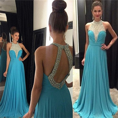 A-Line Blue Halter Chiffon Prom Dess Crystal Ruffles Open Back Formal Occasion Dresses_3