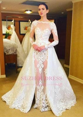 Ruffles Long Sleeves Stunning Lace Bridal Gowns  Sheer Wedding Dress_2