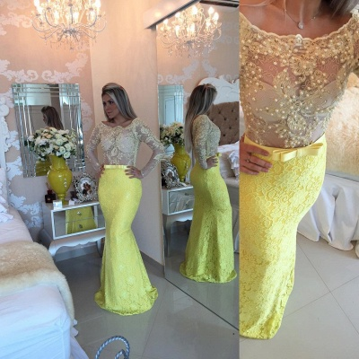 Yellow Long Sleeve Mermaid  Evening Dress Lace Beaded Prom Gown IG008 BMT128_4