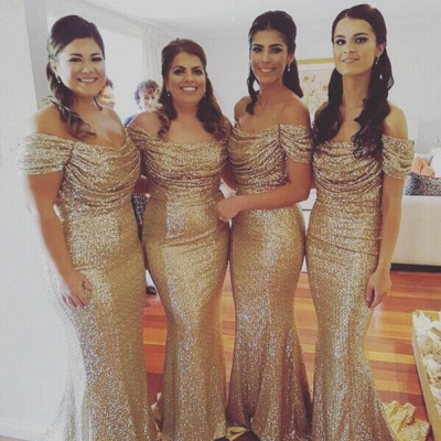 Off The Shoulder Gold Sequins Bridesmaid Dresses Mermaid  Dresses for Maid of Honor BA3186_3