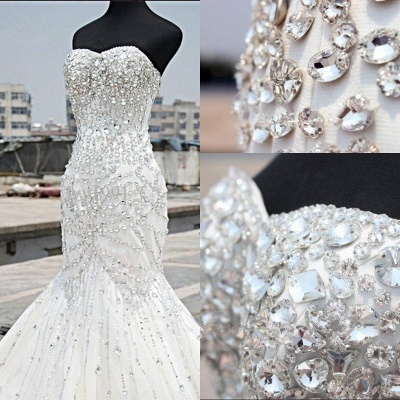 Luxury Silver Crystal Wedding Dresses  Beading Sweetheart Mermaid Sparkly Bridal Gowns_3