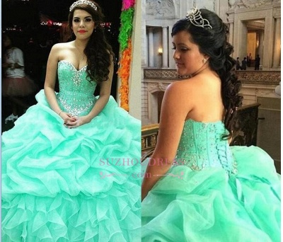Elegant Sweetheart Lace-Up Ruffles Sweet 16 Dresses Crystal Ball Gown Quinceanera Dress_4