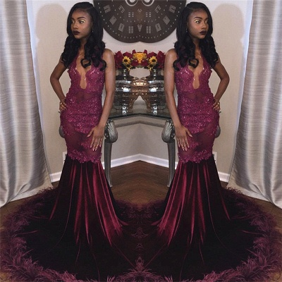 Burgundy Velvet Lace Prom Dresses | Feather Sexy Evening Gown  FB0266_3