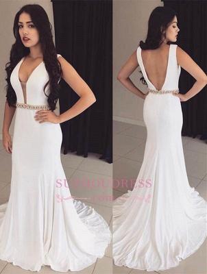 Sleeveless White Bodycon Ball Dress  Straps Modest Crystals Formal Dress_3