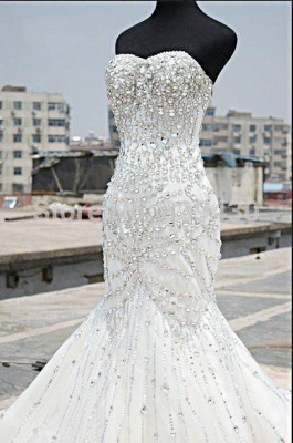 Luxury Silver Crystal Wedding Dresses  Beading Sweetheart Mermaid Sparkly Bridal Gowns_1